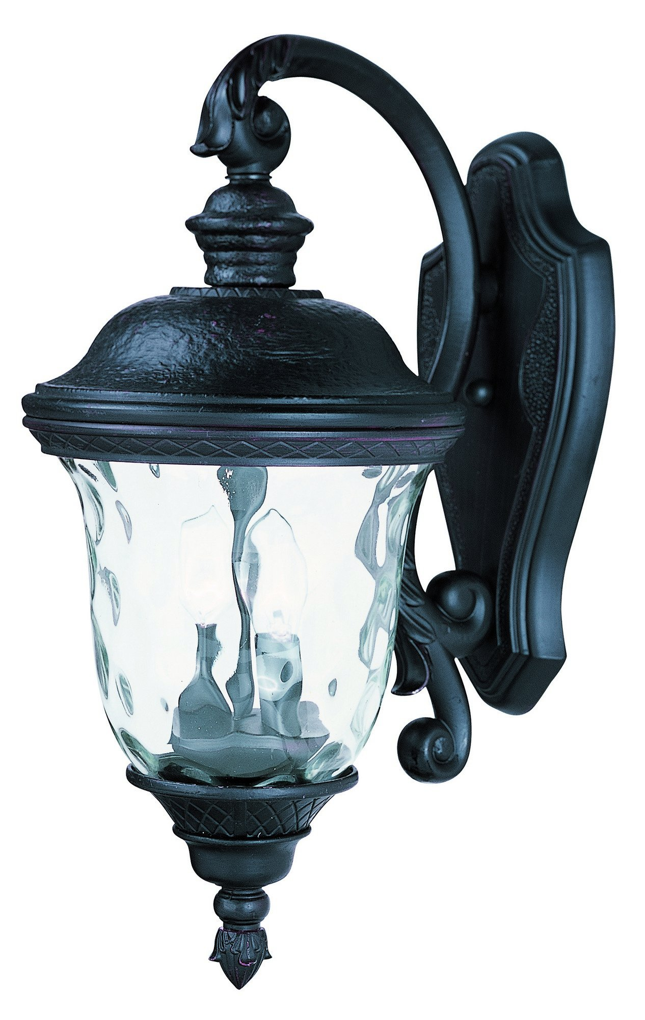 Maxim Lighting 3496WGOB Carriage House DC 2-Light Top Mount Outdoor 20-Inch Wall Lantern, Oriental Bronze Finish - Finish: oriental Bronze Glass finish: water glass Bulb Type: Ca incandescent - patio, outdoor-lights, outdoor-decor - 81z0bVyLETL -