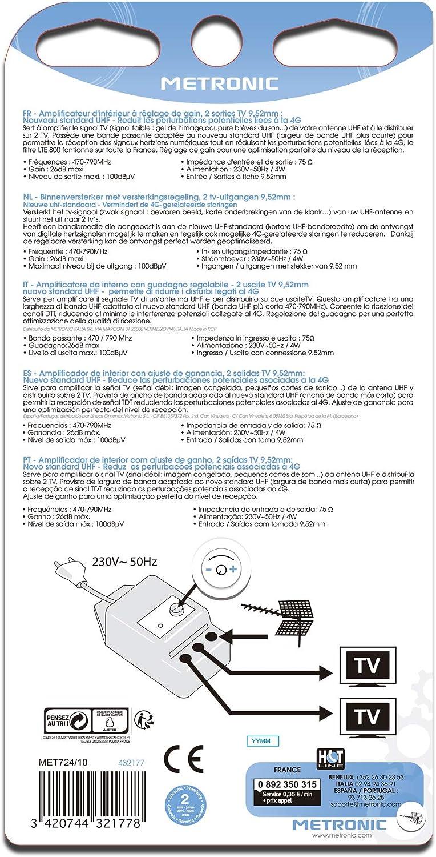 Metronic 432177 - Amplificador de interior con ajuste de ganancia y protección 4G, blanco
