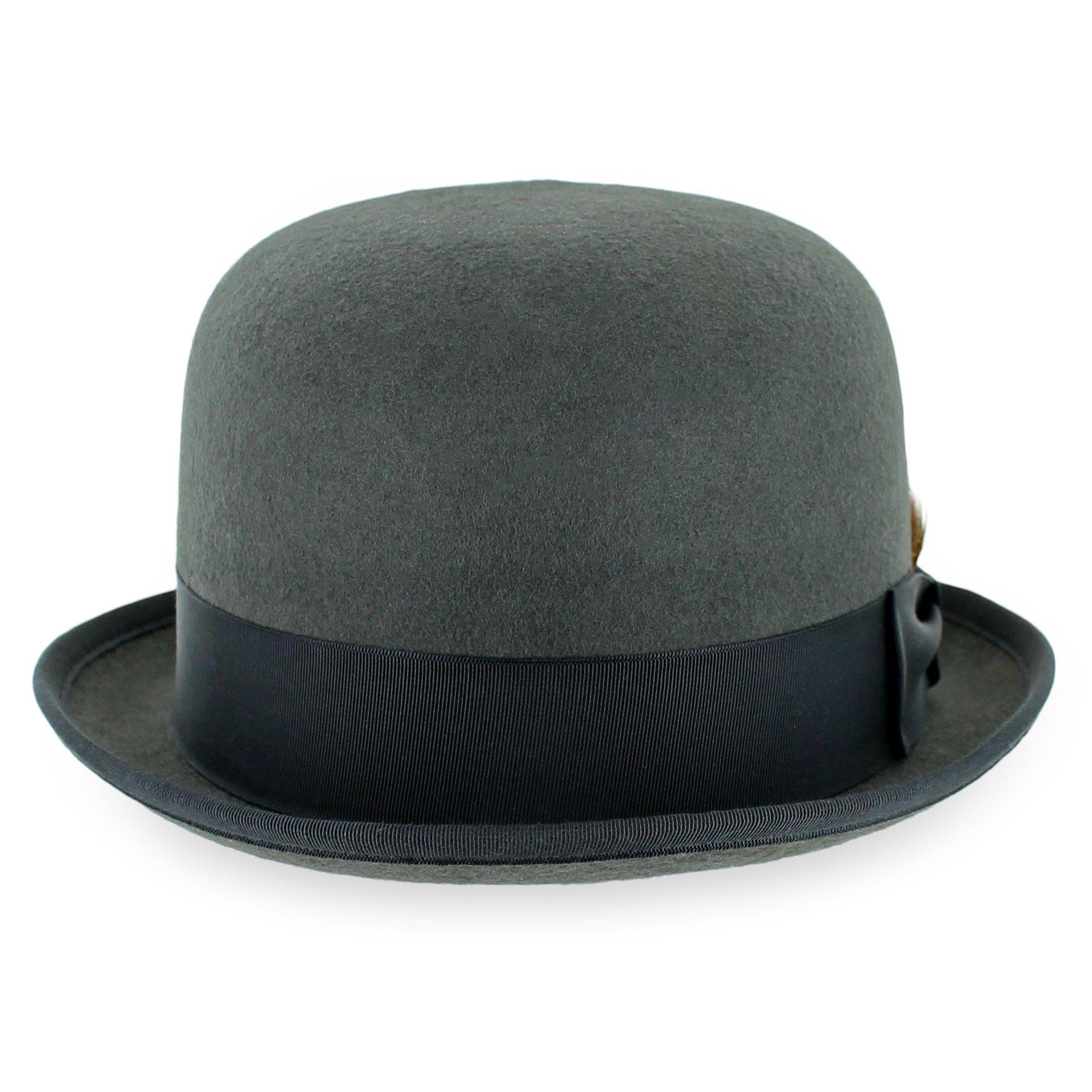 Belfry Deuce 100% Wool Felt Stingy Brim Men's Derby Bowler Hat in 4 Sizes and 2 Colors (XL, Grey)