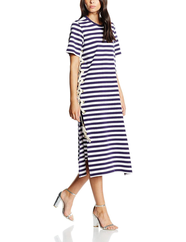 House Of Holland Damen Kleid Striped Lacing Midi Dress ...