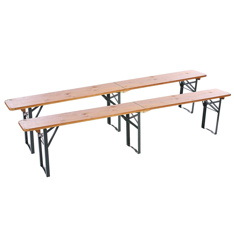 Set 2x panche M26 pieghevole ideale per giardino terrazza legno massello 220cm Mendler