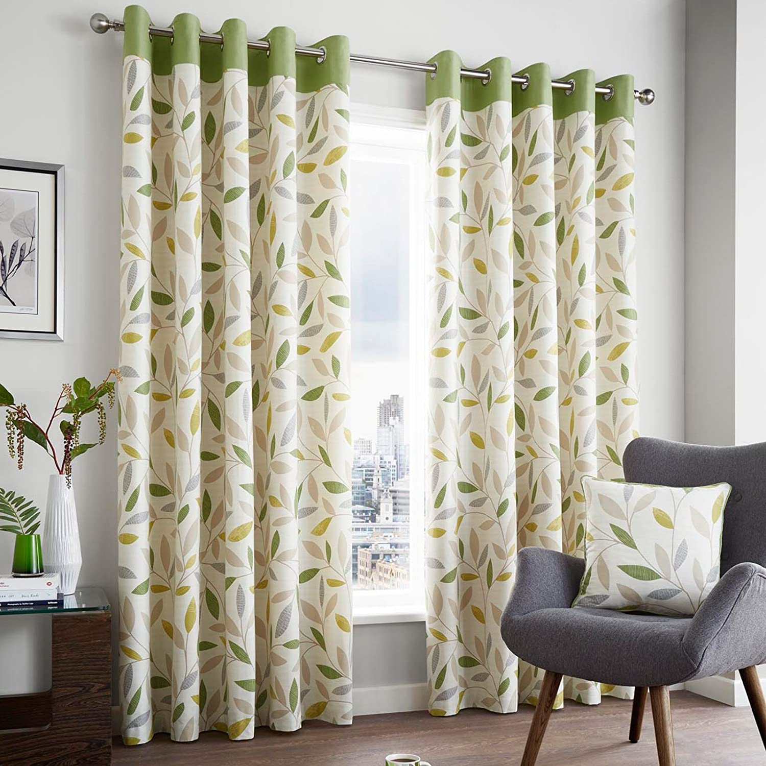 just contempo modern leaf eyelet lined curtains green 46