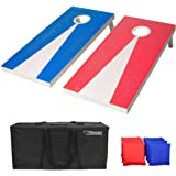 GoSports Regulation Size Solid Wood Cornhole Set - Includes Two 4' x 2' Boards, 8 Bean Bags, Carrying Case and Game…