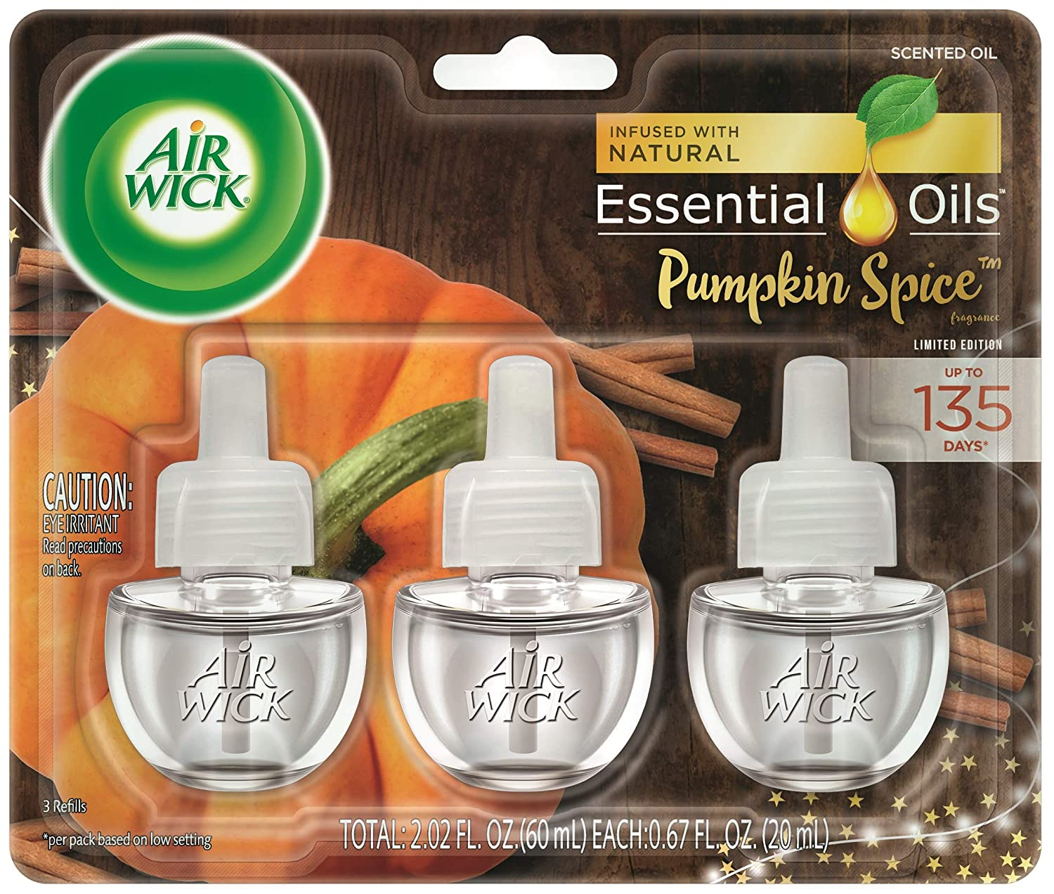 Air Wick Plug in Scented Oil 3 Refills, Pumpkin Spice, Holiday scent, Holiday spray, (3x0.67oz), Essential Oils, Air Freshener, Packaging May Vary
