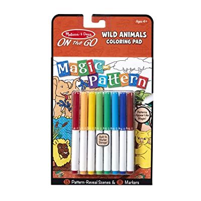 Melissa & Doug Magic-Pattern Kids' Wild Animals Marker Coloring Pad On The Go Travel Activity: Toys & Games