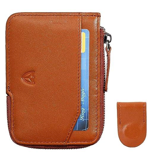 6462c80663ca Slim Wallet with Zipper RFID Sleeves Front Pocket Minimalist Wallet Card  Holder
