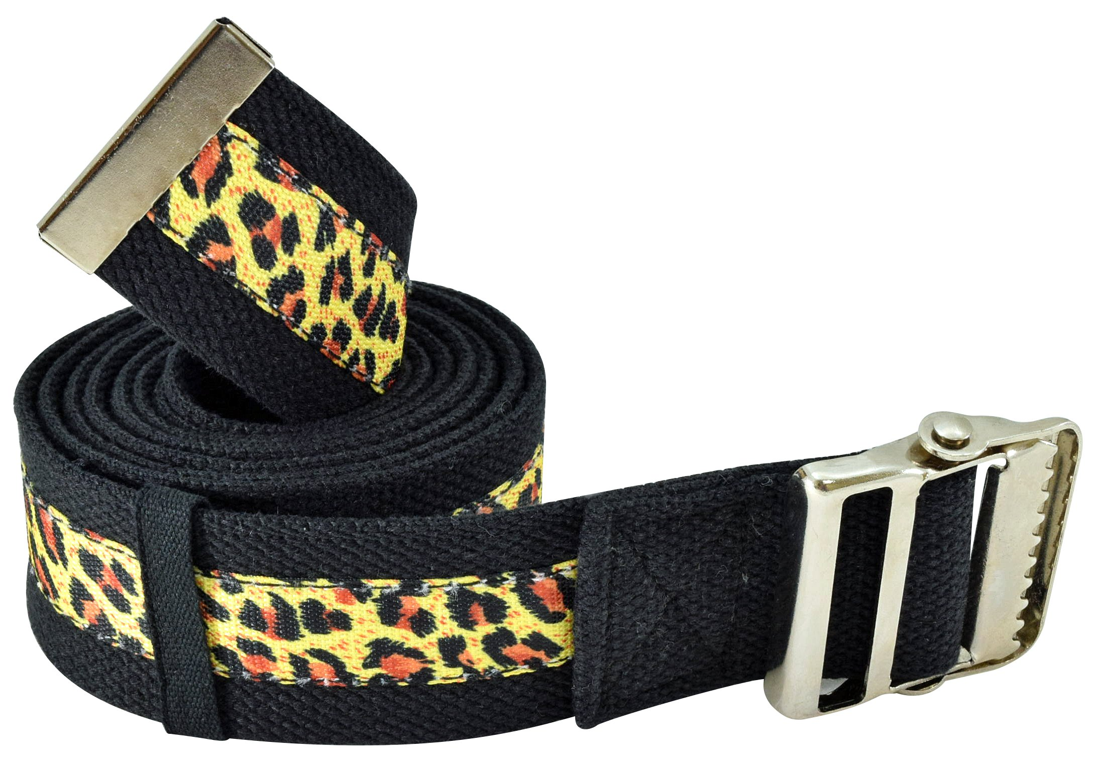 Secure Transfer & Walking Gait Belt with Metal Buckle and Belt Loop Holder for Caregiver, Nurse, Therapist, etc. (72'' x 2'' (Leopard Print)) by Secure