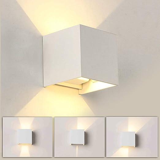 12W Lámpara LED de pared de aluminio Impermeable IP65,para interiores y exteriores, luz blanca cálida de 3000 K, ángulo de haz ajustable para salón, dormitorio, jardín, escalera, camino (Blanco): Amazon.es: Iluminación