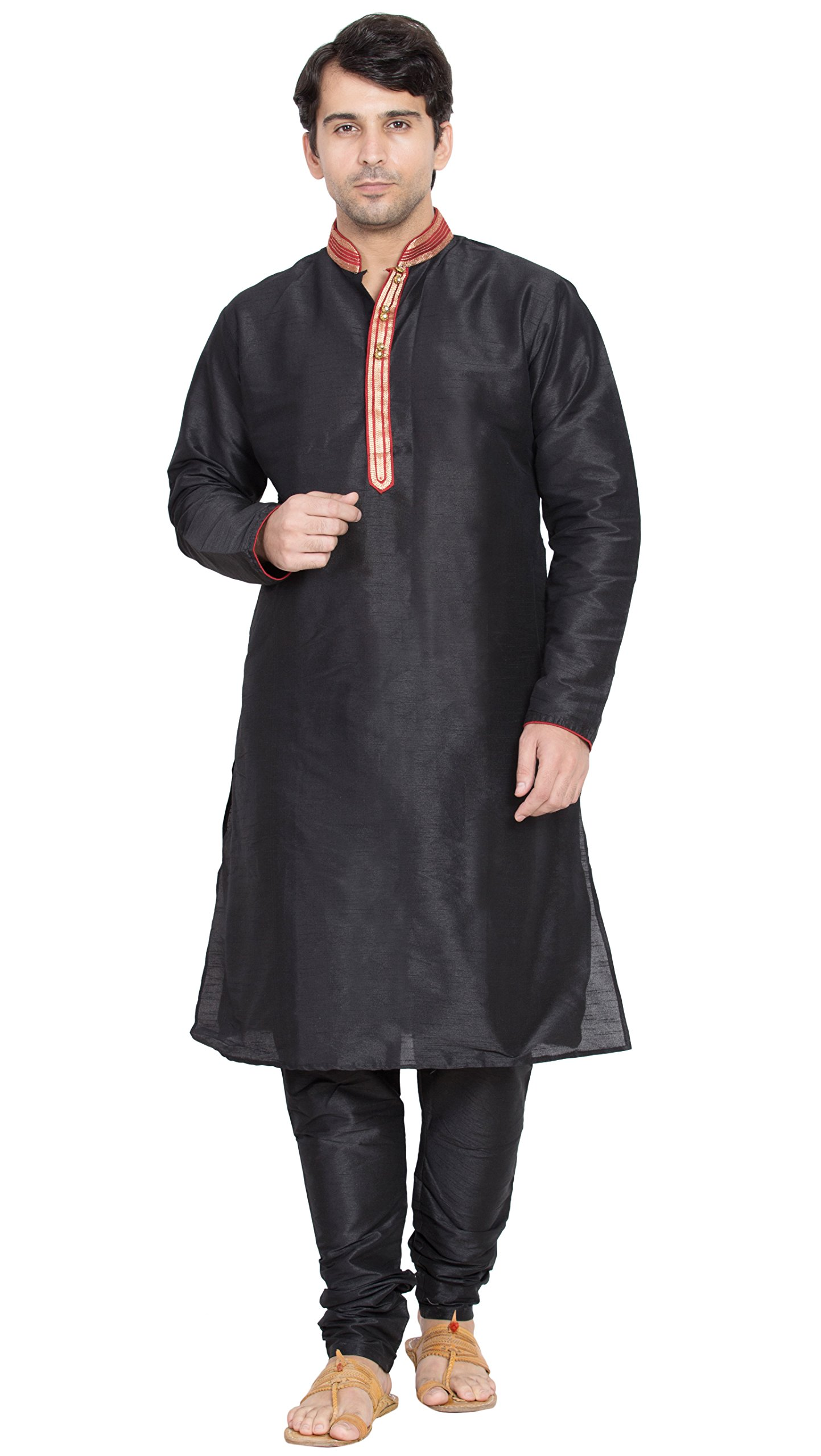 Mens Black Kurta Pajama Long Sleeve Shirt Indian Clothing Fashion Ethnic Dress -L
