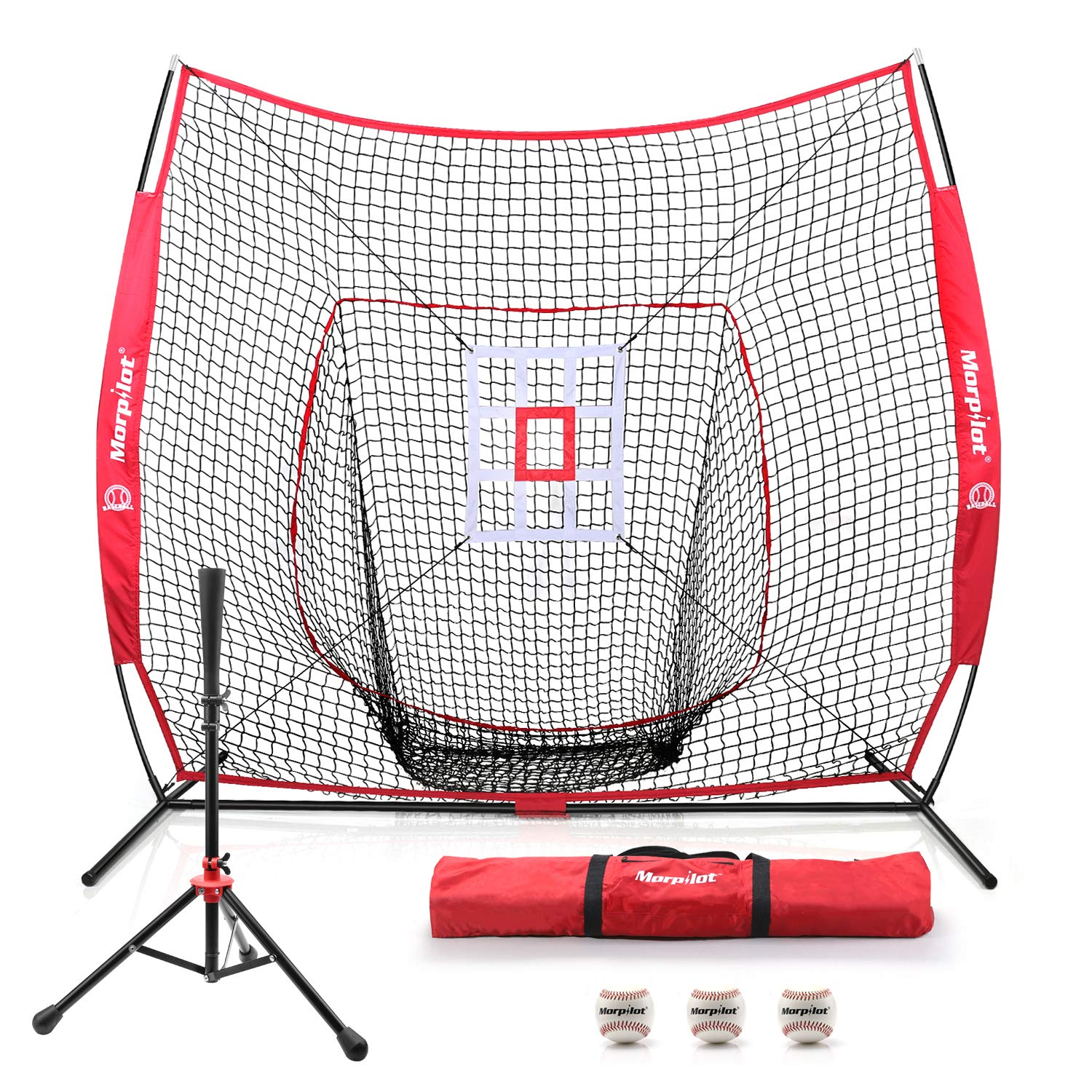 Keenstone 7'×7' Baseball Softball Practice Net | Hitting, Pitching, Batting, Catching, Fielding | with Batting Tee, 3 Training Balls, Strike Zone Target, and Carry Bag by Keenstone