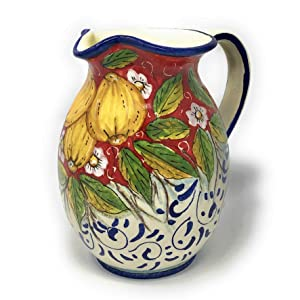 CERAMICHE D'ARTE PARRINI - Italian Pottery Art Pottery Jar Pitcher Vino Vine 0.2 Gal Hand Painted Decorated Lemons Made in ITALY Tuscan Florence