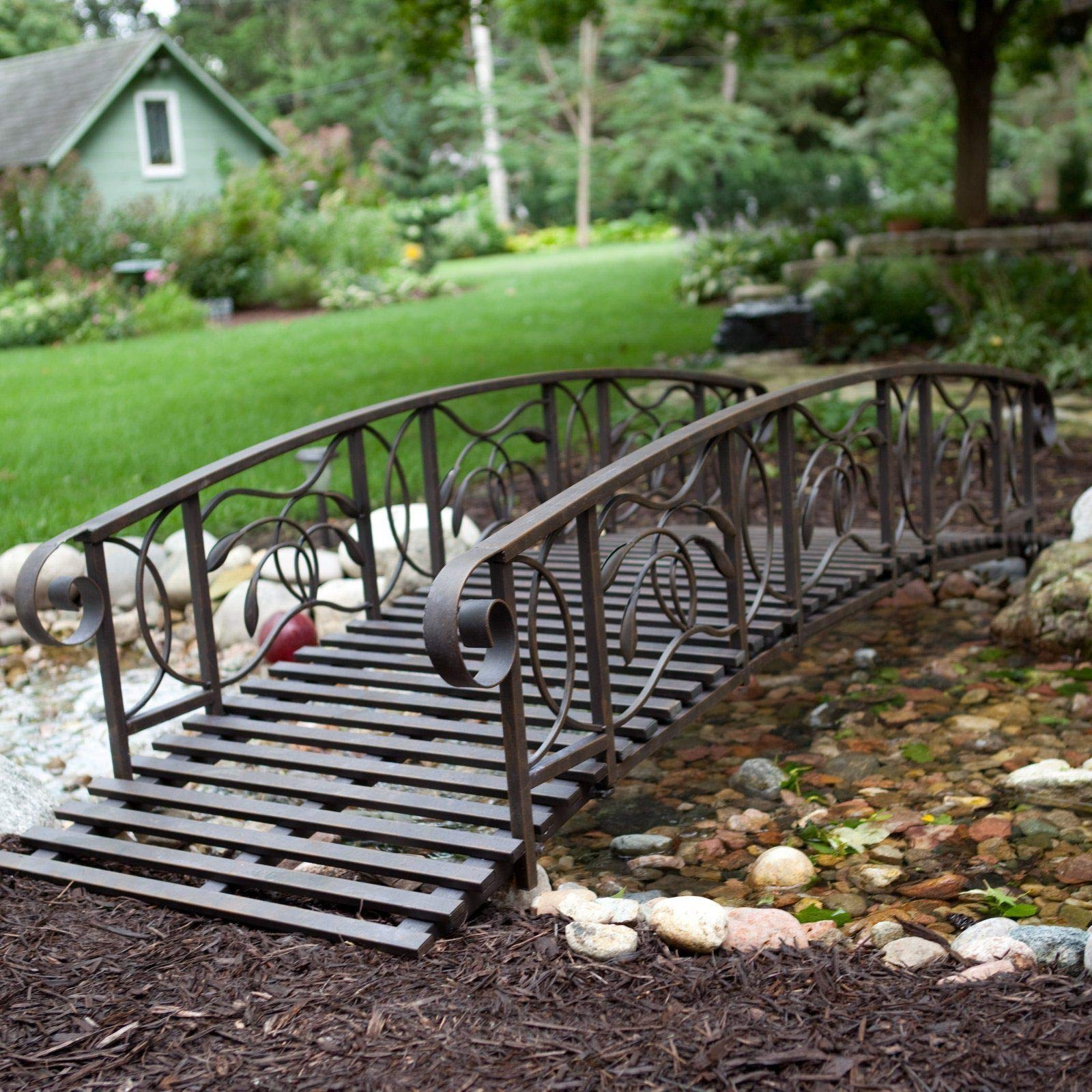 Home Improvements Weathered Black Finish Metal 8 Foot Garden Bridge Outdoor Yard Lawn Landscaping by Home Improvements (Image #1)
