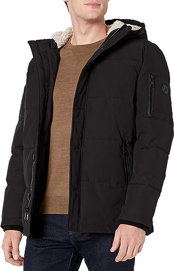 YYG Mens Winter Letter Print Fleece Lined Denim Quilted Jacket Parka Coat Outerwear