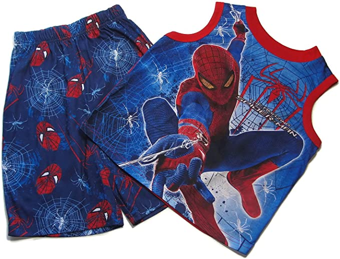 Boys Pajama Set SPIDERMAN Sleeveless Shirt RED BLUE Shorts 4 6 8