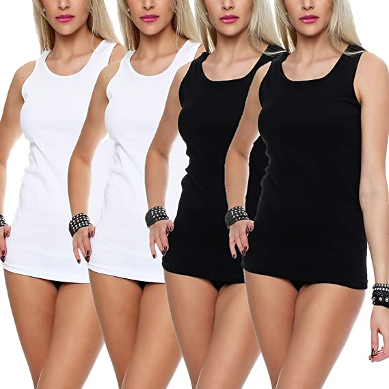 2-4-6-8-10er Pack Unterhemden Frauen Baumwolle Weiß Spitze Damen Tanktop Neu
