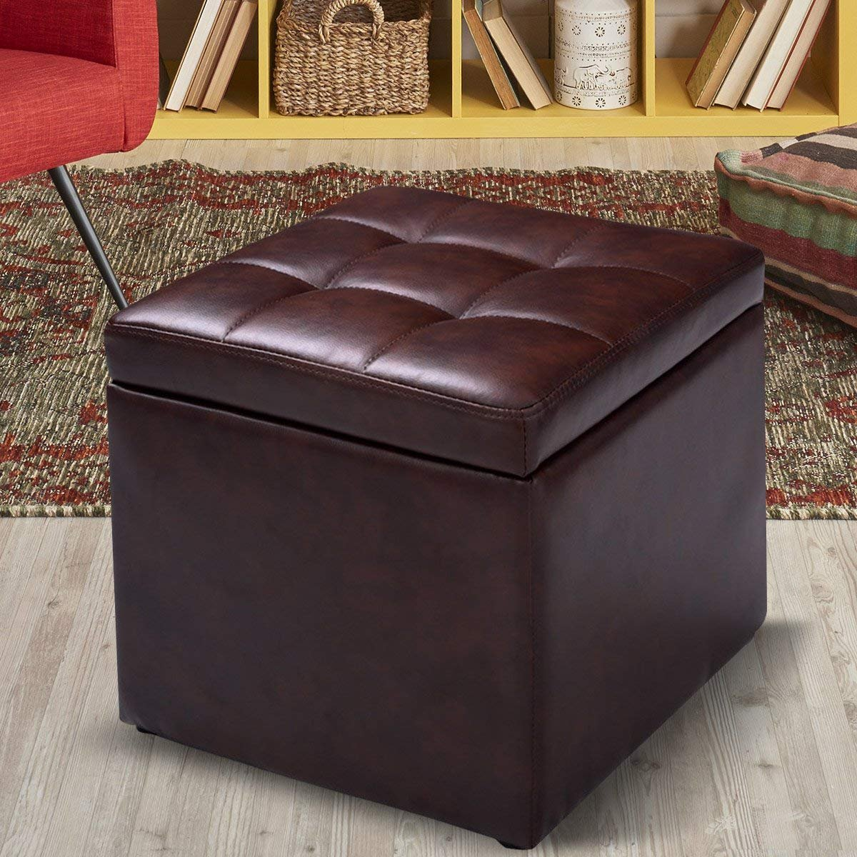 Costway Faux Leather Ottoman Pouffe Storage Toy Box Foot Stools Seater Bench Seat (Black)