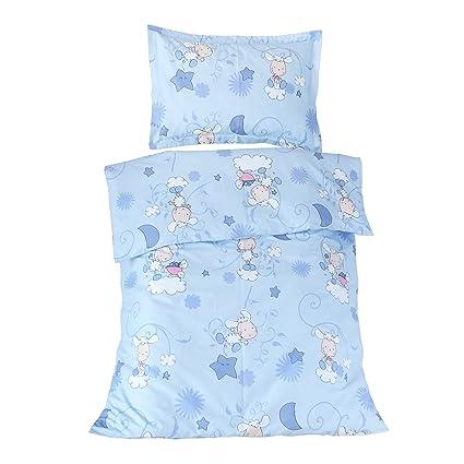 Happy lambs blue (Corderos) - Ropa de cama para minicuna, 100% Algodón