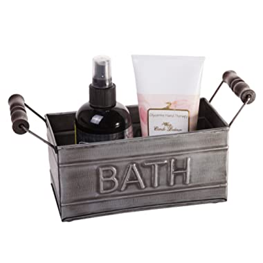 Red Co. Country Chic Vintage Inspired Bathroom Storage Bin, Tin Metal Toiletries Organizer, Bath Embossed Design, Small Size, 7-inch