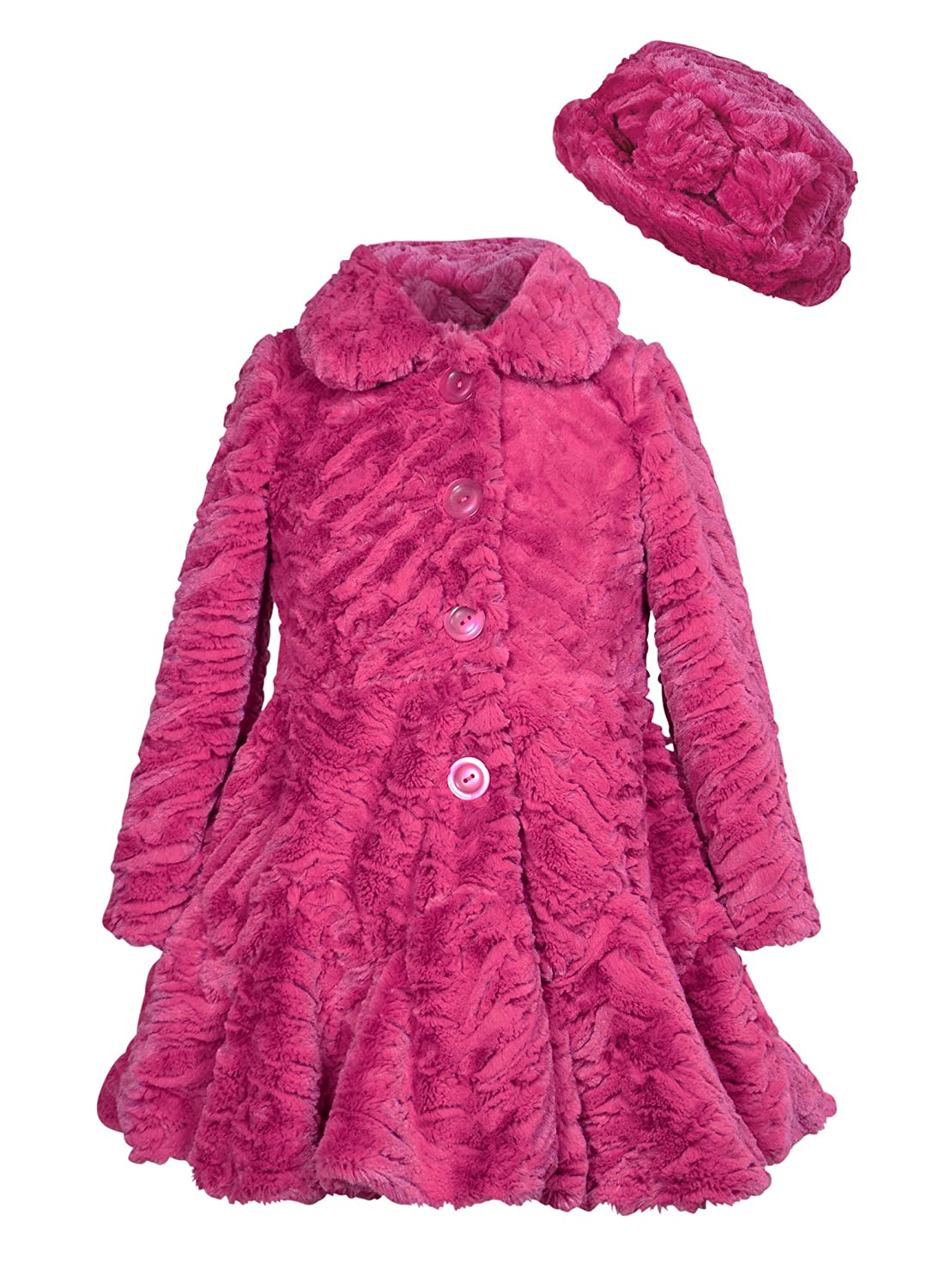 Widgeon Girls' Faux Fur Flounce Skirt Bottom Coat and Hat 3506