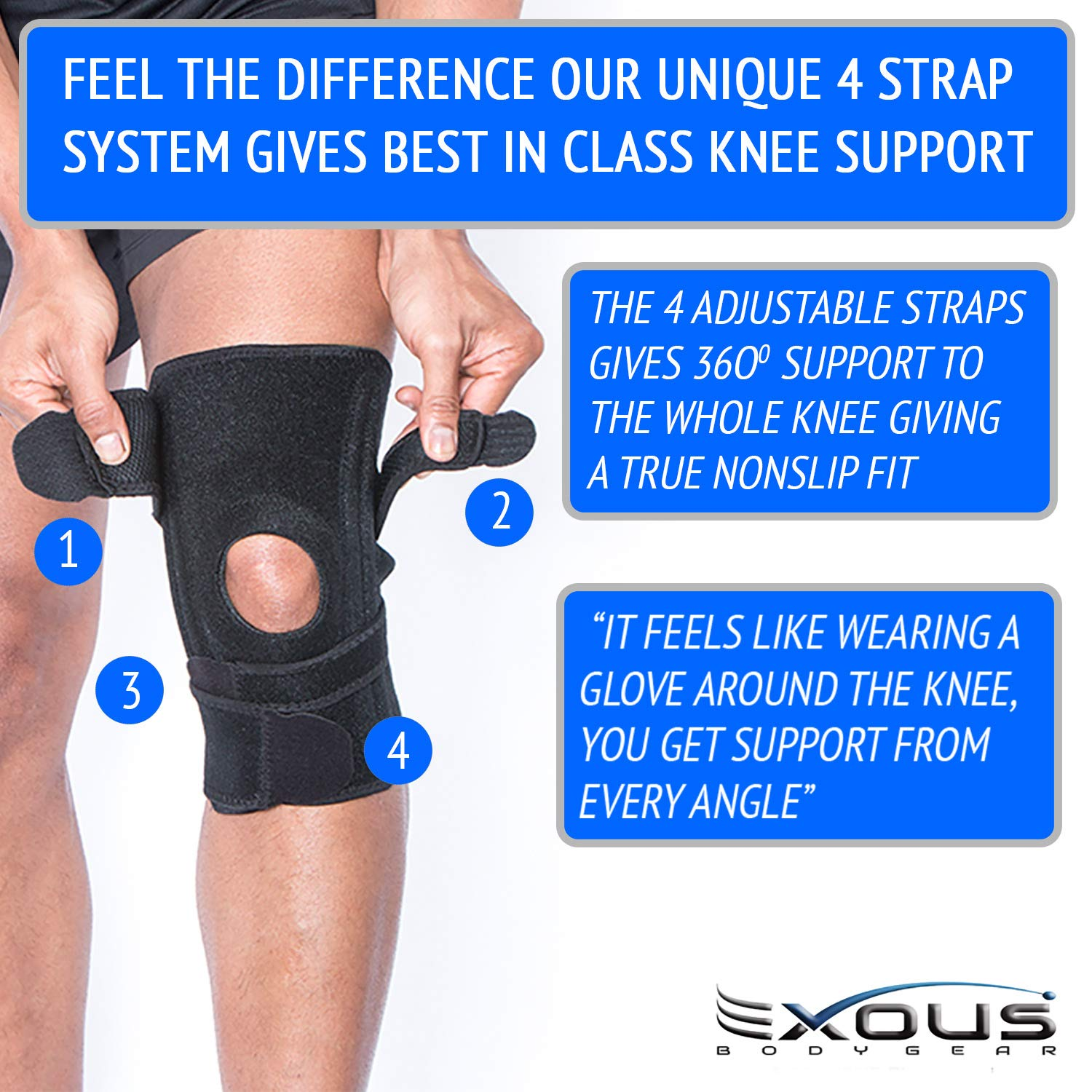 fc876fba5e Amazon.com: EXOUS Knee Brace Support Protector - Relieves Patella  Tendonitis - Jumpers Knee Mensicus Tear - ACL Lateral & Medial Ligament  Sprains Comfort ...