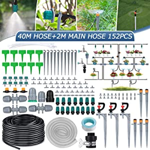 king do way Micro Drip Irrigation Kit Garden Irrigation System with Adjustable Nozzle Sprayer Dripper Patio Plant Watering Kit for Greenhouse,Lawn