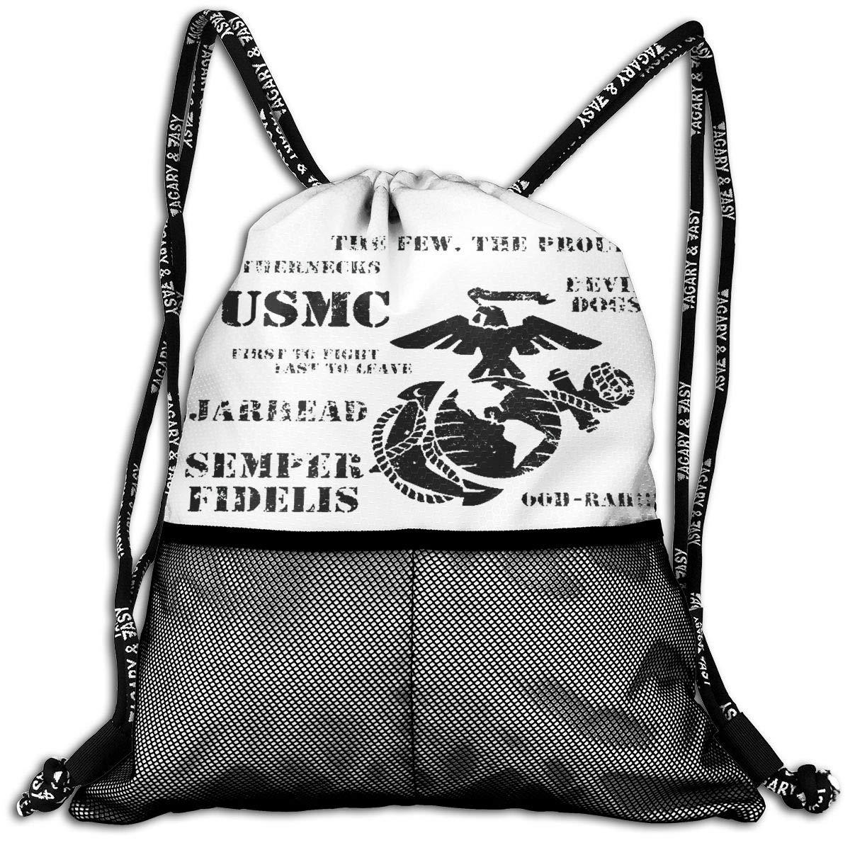 Semper Fi US Marine Corps Gym Bag Lightweight Sport Bookbag Men/&Women Drawstring Backpack for Hiking Travel Beach Yoga Running Kids School