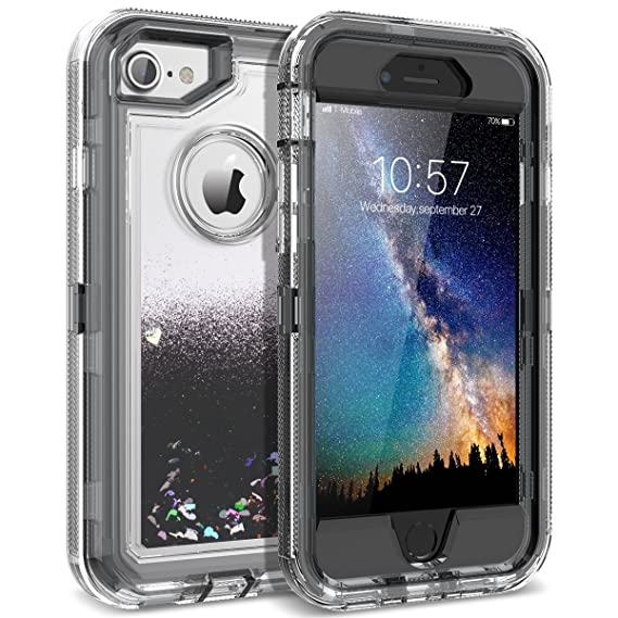 wholesale dealer 2ea4e f2372 iPhone 8 Case, iPhone 7 Case, Dexnor Glitter 3D Bling Sparkle Flowing  Liquid Quicksand Case Transparent 3 in 1 Shockproof TPU Silicone + PC  Protective ...