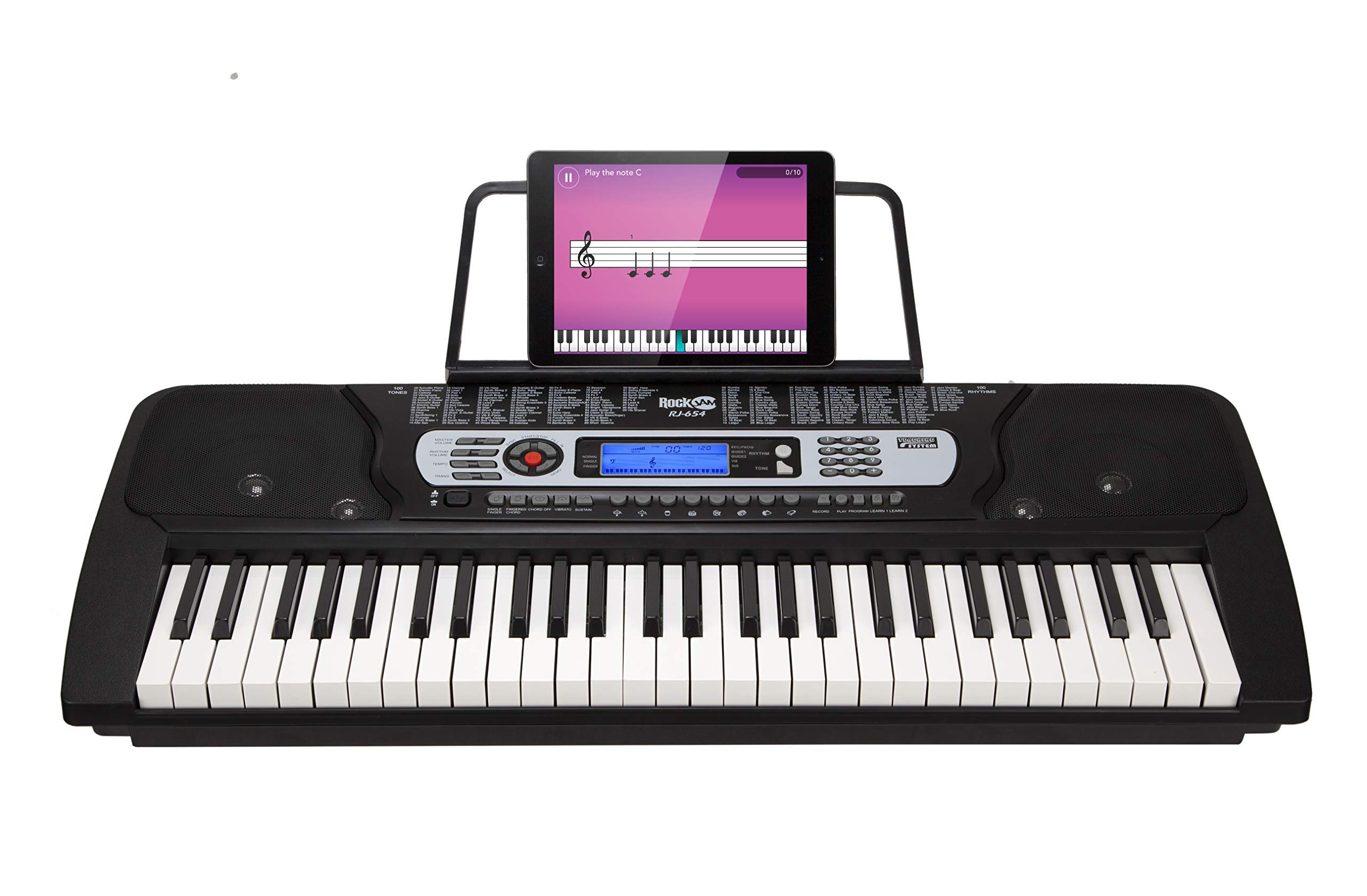 RockJam 54-Key Portable Electronic Keyboard with Interactive LCD Screen & Includes Piano Maestro Teaching App with 30 Songs (Renewed) by RockJam