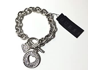 Guess Silver Heart Cut-out Charm Toggle Bracelet with Rhinestone