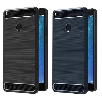 ivoler [2 Unidades] Funda para Xiaomi Mi MAX 2, Diseño de Fibra de Carbon Ultra Fina TPU Silicona Carcasa Fundas Protectora con Shock- Absorción ...