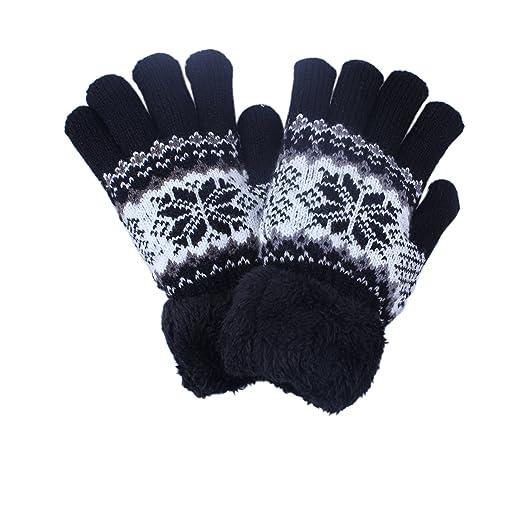 0220a5848 Kids Boy Girl Black Warm Winter Gloves Mittens Fleece Lining Snowflake  Design (1Pair-Black