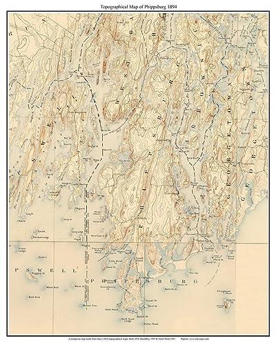 Amazon Com Phippsburg Maine Old Usgs Topo Map 1894 Custom