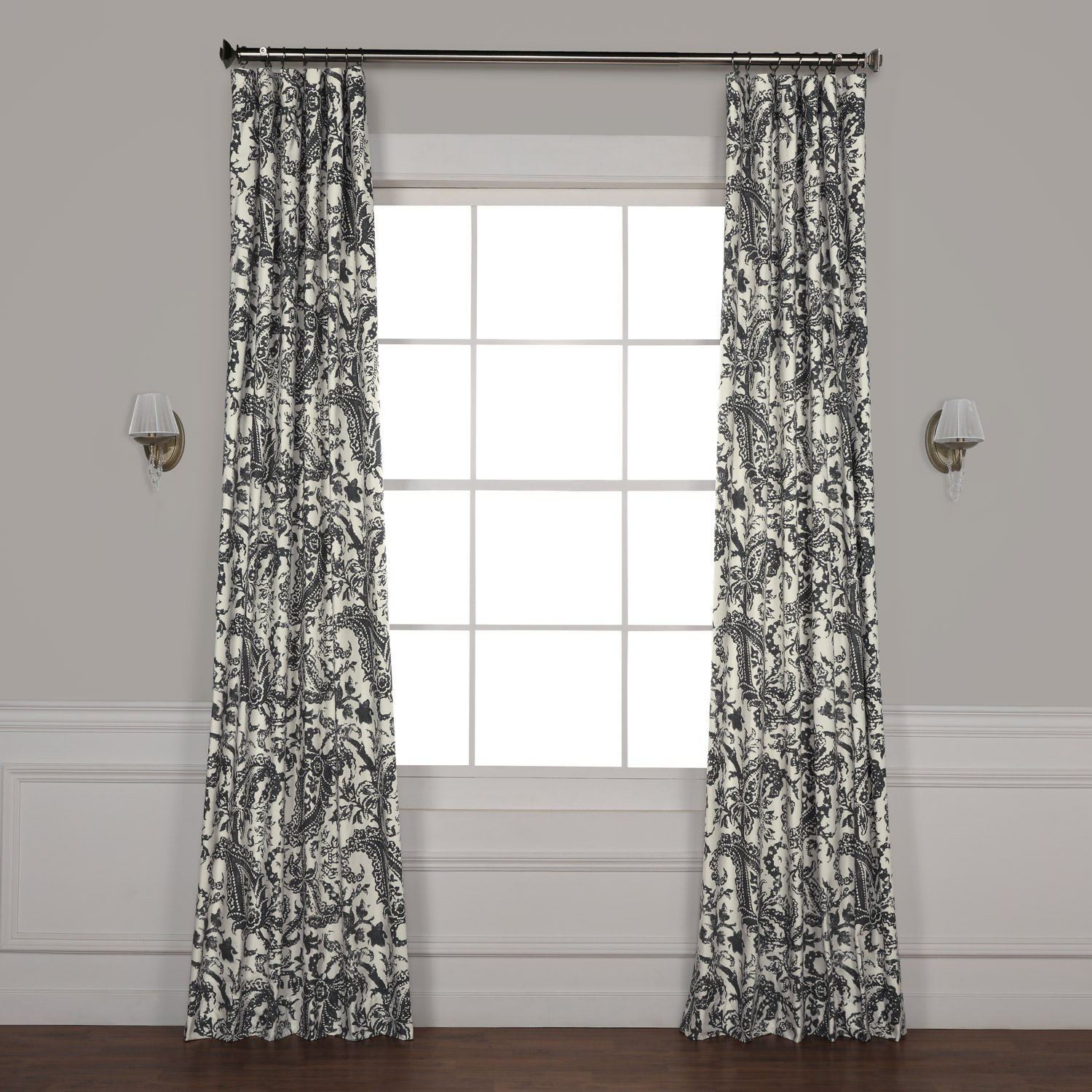 HPD Half Price Drapes PRCT-D09D-84 Edina Printed Cotton Curtain, 50'' x 84'', Grey