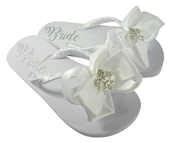 ee01b5eaff68b Amazon.com  Fleur de Lis Satin Bow Flip Flops for Women