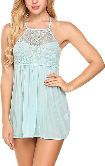 wearella Women Lace Babydoll Halter Chemise Lingerie Nightdress Strap V-Neck Sleepwear
