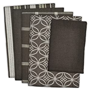 """DII Cotton Oversized Kitchen Dish Towels 18 x 28"""" and Dishcloth 13 x 13"""", Set of 5 , Absorbent Washing Drying Dishtowels for Everyday Cooking and Baking-Dark Brown"""