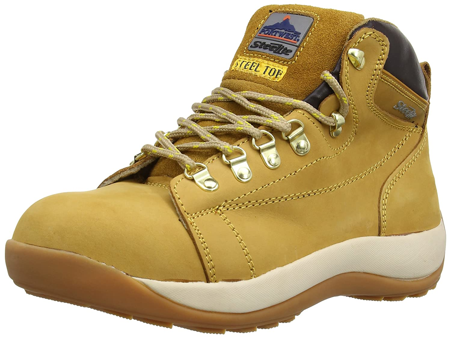 TALLA 42 EU. Portwest Steelite Mid Cut Nubuck SB - Botas de seguridad para hombre, color Marrón (Honey), talla 42 EU