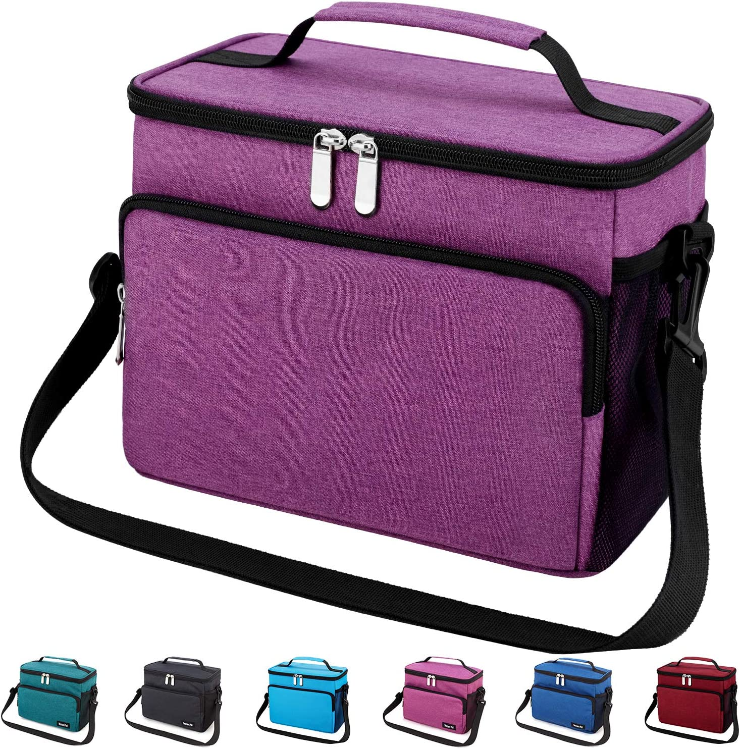 Leakproof Reusable Insulated Cooler Lunch Bag - Office Work School Picnic Hiking Beach Lunch Box Organizer with Adjustable Shoulder Strap for Women,Men and Kids-Dark Purple