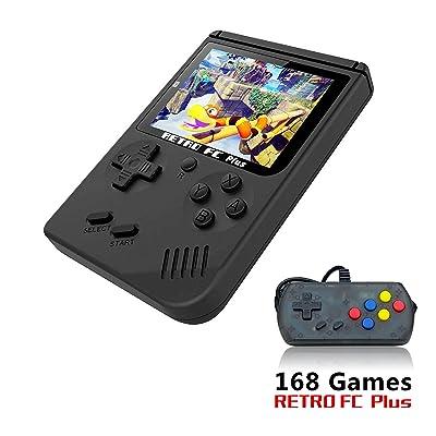 Anbernic Consolas de Juegos Portátil, Consolas de Juegos de Mano Retro FC Handheld Game Console 3 Pulgadas 168 Classic Game Console with 1PCS Joystick - Negro