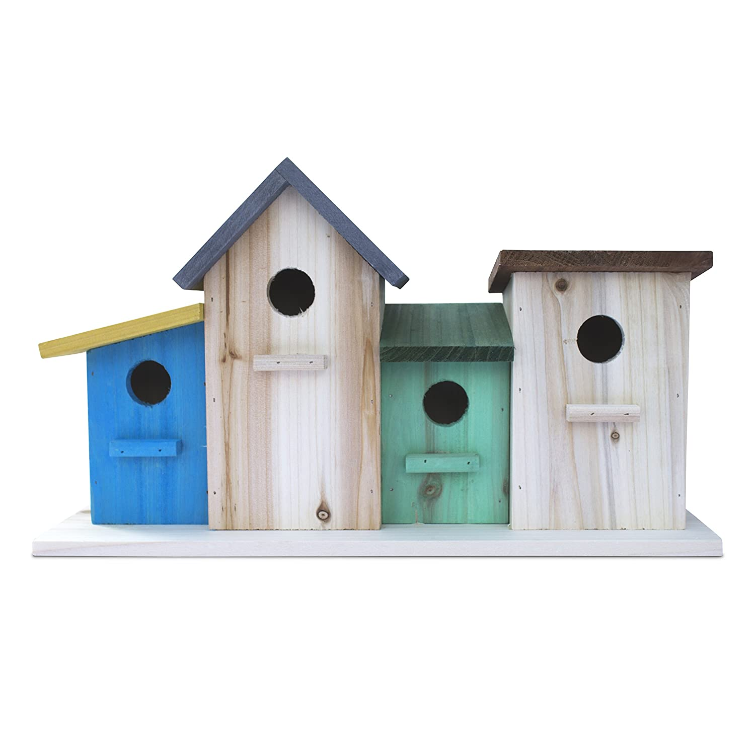 3 Hole Bird House for Outside / Indoors / Hanging | Kits for Children and Adults | Decorative Birdhouse and Home Decoration | Outdoors Feeder for Birds, Bluebirds, Wrens and Chickadees | All Weather / Waterproof | 23 Bees