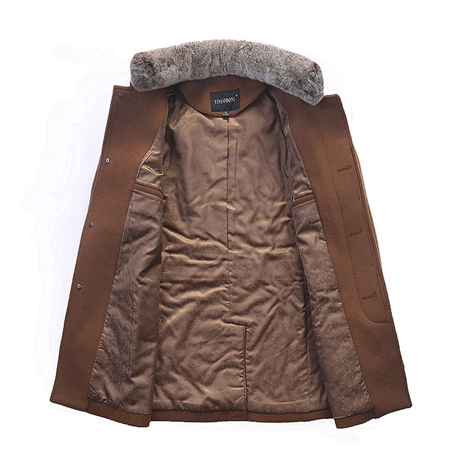 Autumn and winter Men's high quality rex rabbit fur collar woolen jacket Business wool coat