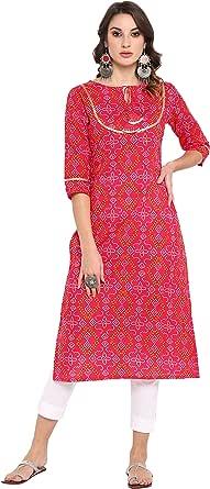 Janasya Women's Pink Pure Cotton Kurta with Pant