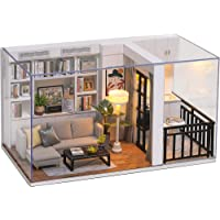Cute Room DIY Miniature Dollhouse Kit with Furniture,Wooden Doll House Plus LED Lights Dust Cover, DIY House Kit (Genki…