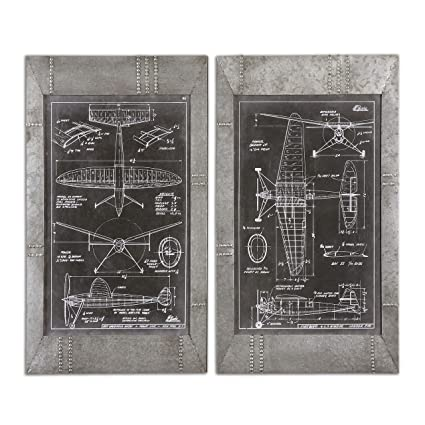 Amazon retro airplane blueprints wall art print set retro airplane blueprints wall art print set industrial silver framed vintage malvernweather Choice Image