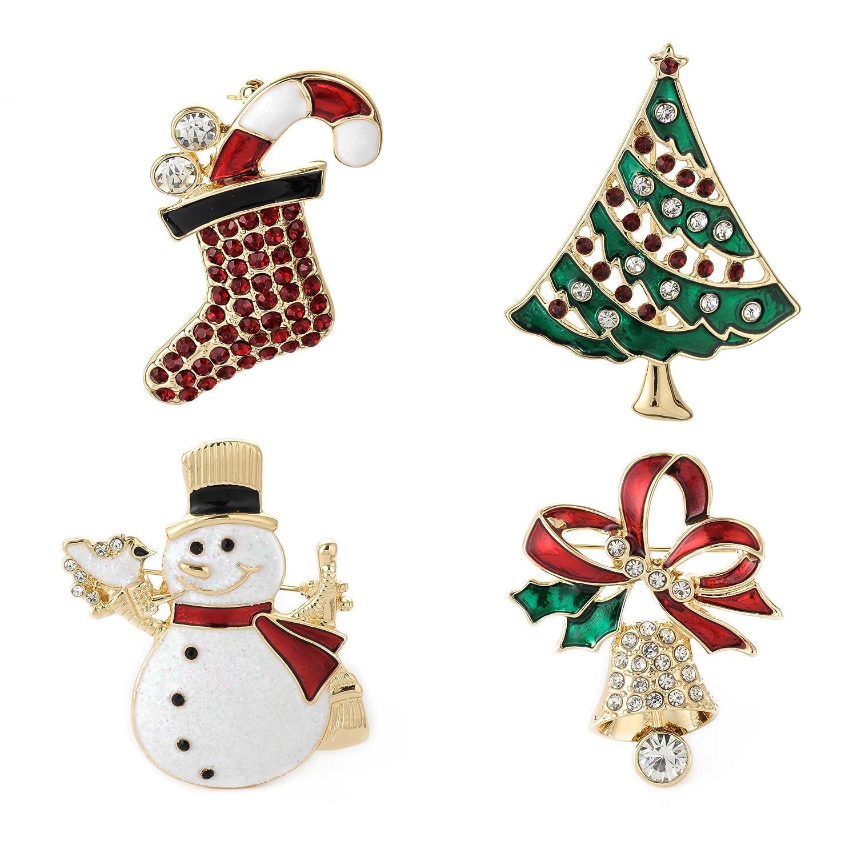 YSD Christmas Brooch Pins Set Holiday Brooch Xmas Pin Lot Party Favor Set Snowman pins Christmas pins Set yashida UK_B076475SMH