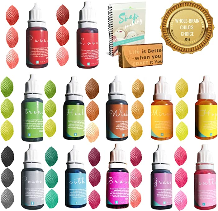 Natural Skin Safe Food Coloring - 4.3 oz - Vegan, Baby Friendly, Gluten Free - Slime - Bath Bomb Colorant - Bath Salt - Perfect Soap Making Supplies for Crafting Mold and Container - eBONUS