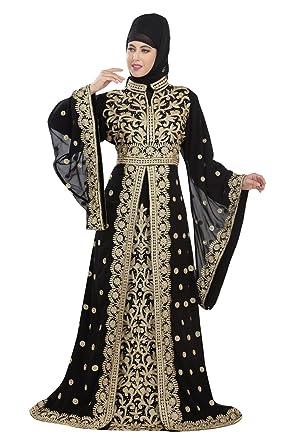 e4958aac9f Amazon.com  Exclusive Dubai Party Wear Kaftan Moroccan Wedding Gown  Takchita Dress For Women 5516  Clothing
