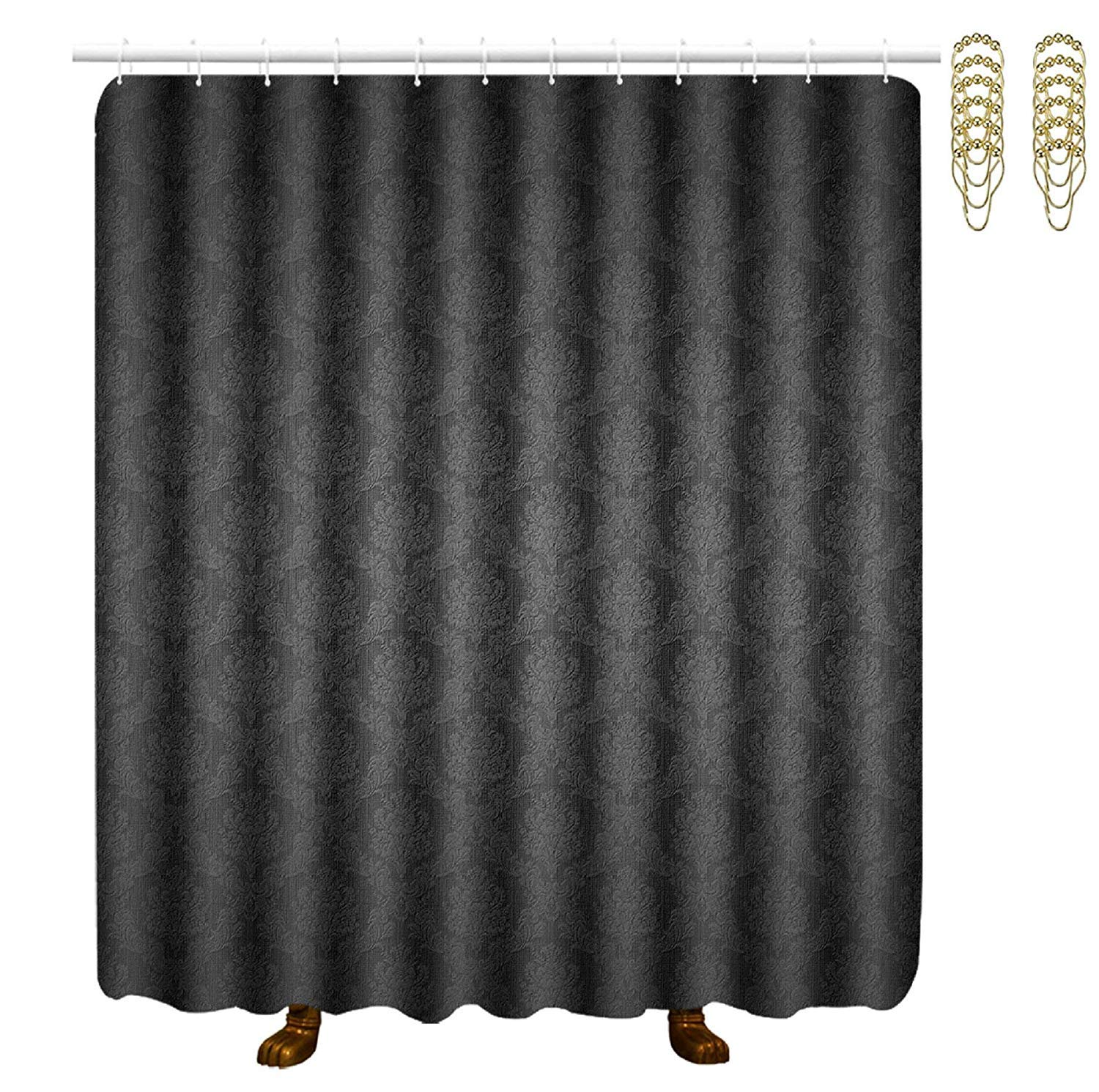 COVASA Decorative Water Repellant Shower Curtain 72x72 Inches Comes with 12 Hooks (Black Elegant Ornaments Texture)