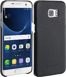 StilGut Cover Type Case, Cover in Pelle per Samsung Galaxy S7 Edge, Nero