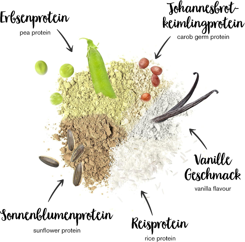 Batidos de proteínas veganas - Proteína vegetal 3K en polvo - de 3 componentes vegetales (guisante, girasol & arroz) - 1 Kg sabor vainilla - Para ...